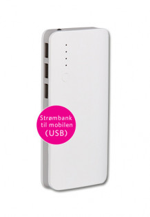 Powerbank 9000mAh, hvit